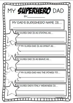 Father's Day Writing Craftivity. My Superhero Dad!