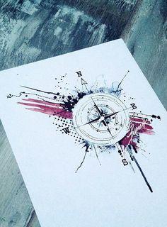 Abstract Compass Tattoo Trash Polka 40 Ideas For 2020 Trendy Tattoos, Love Tattoos, Beautiful Tattoos, Black Tattoos, Body Art Tattoos, Tatoos, 3d Tattoos, Compass Tattoo Design, Compass Drawing