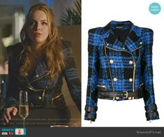 Fallon Carrington wears this blue and black tweed Balmain biker jacket on Dynasty Fashion Tv, Diva Fashion, Fashion Outfits, Tv Show Outfits, Cute Outfits, Donna Suits, Diy Camisa, Black Tweed Jacket, Dynasty Clothing