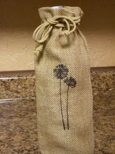 Set Of Two Wine Gift Bags     Drawstring Cotton by aunaturelle, $15.00