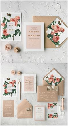 Peach floral wedding invitation with calligraphy printing and addition of twine. Romantic and simple design with touch of vintage feeling #handmade