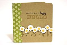 hand crafted greeting card ... kraft ... row of flowers...scalloped circles with polka dot paper cents and stamped stems ... sweet ...