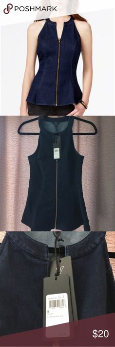 NWT Guess Denim Peplum Top Never worn, perfect condition. Previously listed but buyer changed mind. Guess Tops Tank Tops