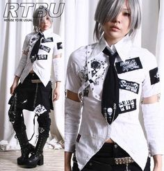 I found 'Gothic Punk Slim Fit Patch Button Front Swallow Tail Shirt+Sleeve+Neck Tie 4PC' on Wish, check it out!
