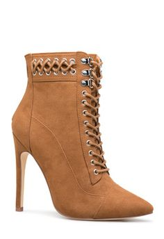 Chic pointed toe bootie with a lace-up front, corset detail on the cuff, and metal hardware accents. High Heel Boots, Shoe Boots, High Heels, Women's Shoes, Stiletto Heels, Womens Boots On Sale, Boots For Sale, Latest Ladies Shoes, Outfits