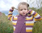 Hand Knitted Sweater - Shawl Collar Stripey Cardigan - seamless design - size 4-6 years - OOAK