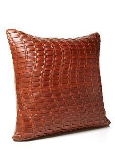 MINA VICTORY  Basket Weave Leather Pillow