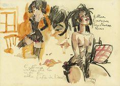 "Hugo Pratt | Esther, portfolio ""Farewell Ladies"", 1986"