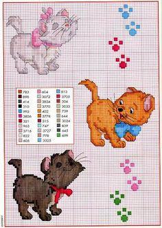 sandylandya 3 kittens from aristocats movie Disney Cross Stitch Patterns, Cross Stitch For Kids, Cross Stitch Baby, Cross Stitch Animals, Cross Stitch Charts, Cross Stitch Designs, Cross Stitching, Cross Stitch Embroidery, Embroidery Patterns