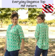 his beginner/intermediate pattern has all the style you need in a loose, flowy, comfortable shirt! It can be made with a woven or knit material, but works best with fabrics that have a soft drape. Sleeves are 3/4 with button tab, that can be worn year round. The longer curved hem is perfect to pair with leggings, skinny jeans, or your favorite work slacks. Where is loose, or belt it (belt included in tutorial) for a more fitted look. V neck and rounded collar give this shirt sophist...