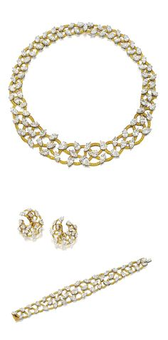 ATTRACTIVE DIAMOND & YELLOW DIAMOND DEMI-PARURE, GRAFF.   The slightly tapering collar of openwork design, interspersed with pear- & marquise-shaped diamonds, interlaced with scalloped-shaped links pavé-set with yellow diamonds, length approximately 360mm; a bracelet en suite & a pair of matching ear clips, clip fittings, mounted in 18 karat white and yellow gold, signed and numbered 3929, 2777 and 4353 respectively.