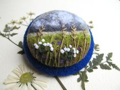 Felt broochNeedle felt  Brooch with embroidery by FeltAccessories