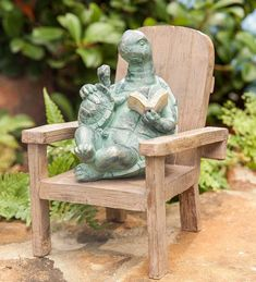 Front Yard Landscaping Discover Reading Turtle Outdoor Garden Statue Made Of All Weather Resin - Plow & Hearth Monuments, Outdoor Garden Statues, Rabbit Garden, Baby Turtles, Wind Spinners, Animal Statues, Garden Ornaments, Bronze, Garden Art