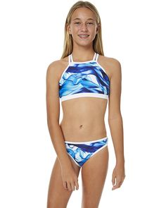 JETS KIDS GIRLS CHARADE HIGH NECK BIKINI - DEEP BLUE