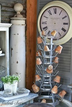 Super cute idea for displaying little pots
