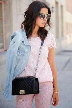 VivaLuxury - Fashion Blog by Annabelle Fleur: PALE PINK SPRING & SAINT LAURENT JANE SANDALS