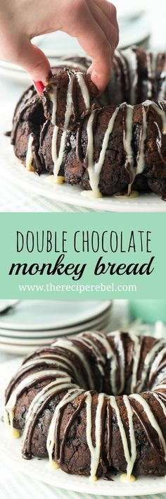 Homemade chocolate biscuit dough (or use store bought) is coated in a chocolate sugar mixture, baked and drizzled with a white chocolate ganache — this Double Chocolate Monkey Bread is for true chocolate lovers!
