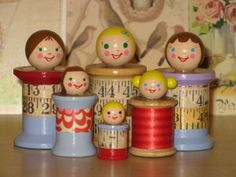 spool dollies-- for little girls who's Mommys won't allow them to play with Barbies. I was one of those little girls:( Wish I would have thought of using mamas spools instead of my little brothers hot wheel collection. Wooden Spool Crafts, Wood Spool, Wooden Pegs, Wooden Dolls, Fun Crafts, Diy And Crafts, Crafts For Kids, Sewing Rooms, Sewing Spaces
