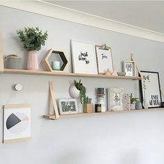 Love how has used our Natural Leather Strap Set and made their own long timber shelves, stunning Oh & GOOD NEWS All leather shelves and sets will be restocked tonight at Available to purchase through our website xx Diy Home Decor Bedroom, Living Room Decor, Leather Strap Shelves, Indoor Paint, Timber Shelves, Shelves In Bedroom, Ikea Wall Shelves, Home Goods, Sweet Home