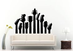 Guitar Griffs Electric Acoustic Musical Instrument Guitar Wall Decal Vinyl Sticker Mural Room Decor L716