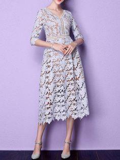 Purple Elegant Lace V Neck Midi Dress