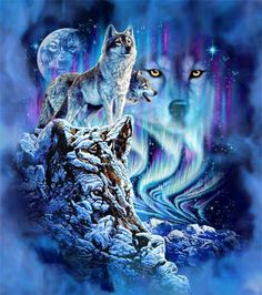 We are all wolves.  It's in us around us.  Love this picture.  Rock: wolf.  Air: wolf. Moon: wolf. Northern lights: wolf scratches.