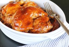 Easy Bourbon BBQ Chicken recipe - a slow cooker recipe that is fall off the bone tender, easy, and finger licking delicious!