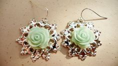 round silver filigree  and mint rose dangle by VerdigrisGifts, $18.00