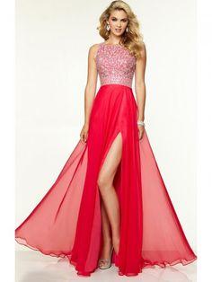A-Line/Princess Scoop Beading Sleeveless Chiffon Floor-Length Dress  | IDEA wear for prom, weddings, special events