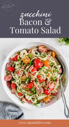 Zucchini Noodle, Bacon and Tomato Salad - Rubies & Radishes Paleo Menu Plan, Paleo Diet Plan, Diet Plans, Paleo Recipes Easy, Real Food Recipes, Diet Recipes, Freezer Recipes, Freezer Cooking, Kitchen Recipes