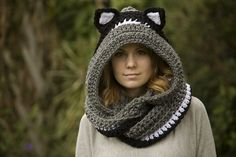 Hooded Scarf with Cat Ears, Cat Scoodie by Melissa Grice #crochet #scarf #cowl