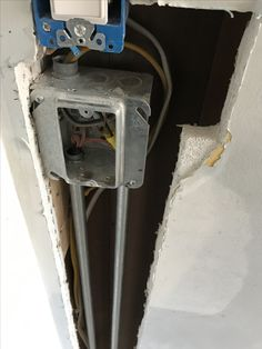 Asked electricians to wire thermostat for heated floor. They never wired anything they just installed this metal box. It was not installed correctly flush with wall. I had to pay a carpenter to move it so the drywallers could complete the wall. Heated Floor, Electrical Problems, Drywall, Metal Box, House Projects, Carpenter, Seattle, Wire, Flooring
