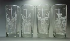 Commission work- two sets of deer themed glasses.  This is the first set.