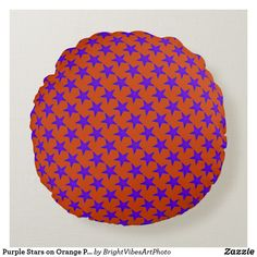 Shop Purple Stars on Orange Pattern Round Pillow created by BrightVibesArtPhoto. Orange Pattern, Round Pillow, Orange Background, Colorful Pillows, Star Sky, Star Patterns, Star Shape, Vibrant Colors, Throw Pillows