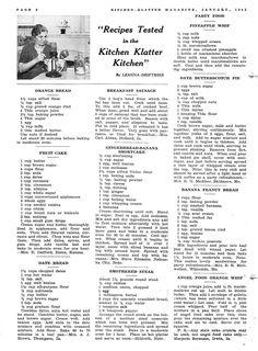 Kitchen Klatter Magazine, January 1942 - Orange Bread, Fruit Cake, Date Bread… Retro Recipes, Old Recipes, Cookbook Recipes, Vintage Recipes, Cooking Recipes, Frugal Recipes, Recipies, Family Recipes, Cooking Ideas