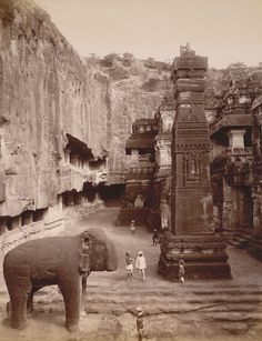 This photograph of the Kailasa rock-cut Temple at Ellora, taken by Deen Dayal in the 1880s. British Library
