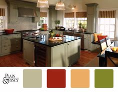 A natural color scheme with a splash of vivid reds and yellows, kitchen