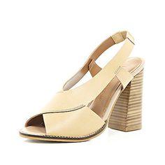 Nude leather cross strap block heel sandals - shoes / boots - sale - women