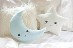 Star and Moon Pillow Cushion Set  Crescent Moon by DearVioletShop