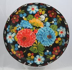 Vintage Batea, Mexican Wood Bowl Folk Art Hand Made/Painted Red Blue Flowers