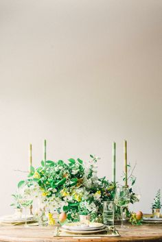 inspiration | spring fresh florals in green and yellow | via: style me pretty