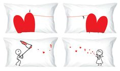 """""""We Are Connected...Wherever You Are"""" Couple Pillowcases by BoldLoft - GadgetGrid"""