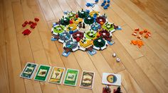 Too much geek in one picture? Lego Settlers of Catan. Sweet.
