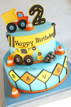 Children's Birthday Cakes - Construction themed birthday cake inspired by the party decor. Truck Birthday Cakes, Birthday Party Desserts, 2nd Birthday Cake Boy, Digger Birthday Cake, Digger Cake, Cake Party, Third Birthday, 1st Birthday Cake Designs, Digger Birthday Parties