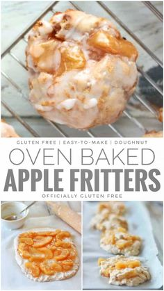 Oven Baked Apple Fritters Gluten Free Recipe that uses Gluten Free Tea Biscuit Dough and Apple Pie Filling Gluten Free Doughnuts, Gluten Free Deserts, Gluten Free Sweets, Foods With Gluten, Gluten Free Beignet Recipe, Eating Gluten Free, Gluten Free Apple Cake, Gluten Free List, Baked Doughnuts