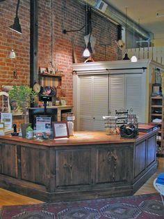 Rustic wood pine board cash wrap sales check out counter for Wrap around desk plans