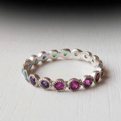 White Gold Eternity ring - Sapphire - Ruby - Citrine - Emerald - Garnet - Blue Topaz - Thin band - Silver - Amethyst