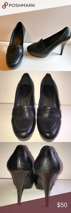 J. Crew Biella Black Leather Loafer Style Heels J. Crew Biella black leather heels in a loafer style. Small platform insole. Some wear (see pix) but tons of life left. Please let me know if you need more pix or have any questions. All of my items come from a smoke/pet free home. I'm ready to get rid of everything so please make me an offer. Or better yet, bundle it, save more! J. Crew Shoes Heels