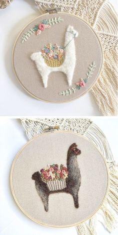 Llama and alpaca hoop art by Fuzzy and Flora | needle felting | embroidery | llama embroidery | alpaca art