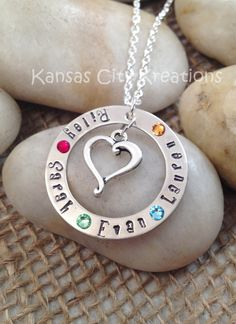 HandStamped Mom Necklace with Names by KansasCityKreations on Etsy, $30.00